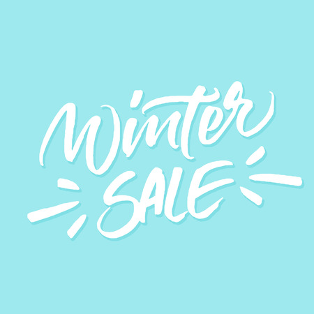 winter sale: Winter Sale inscription for special offer banners, season sale posters, discount tags. Handwritten brush lettering on blue background.