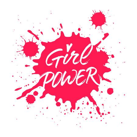 여성 파워 손으로 쓴 비문. 티셔츠, 카드 또는 포스터 디자인의 브러쉬 핸드 레터링. 레드, 핑크 잉크 산 산 조각 배경에 현대 브러시 서예.