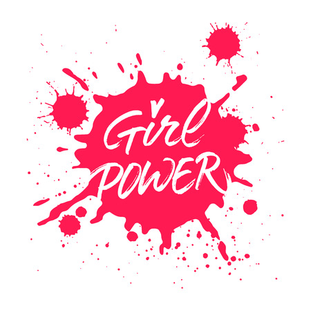 Girl Power handwritten inscription. Brush hand lettering for t-shirt, card or poster design. Modern brush calligraphy on red pink Ink splattered background.