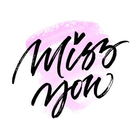 miss you: Miss you card design. Handwritten brush calligraphy on abstract pink background.