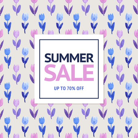 pink flower background: Summer sale floral watercolor background. Violet and blue hand painted tulip flowers pattern.