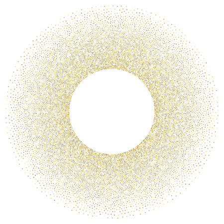 stippled: Abstract golden glitter dots background. Golden sparkling stippled pattern isolated on white background.