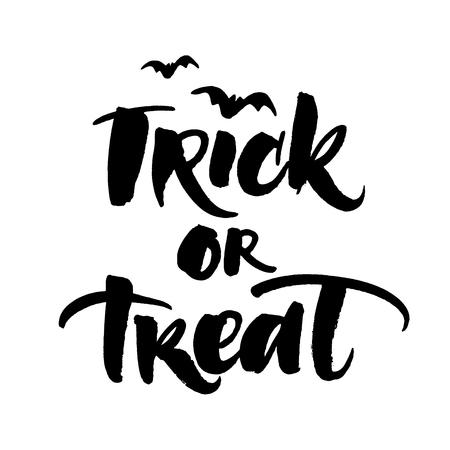 treats: Truco o la tarjeta postal escrita a mano Halloween