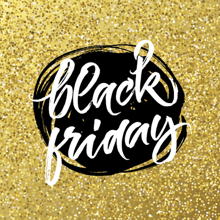 Black Friday big sale day banner. Handwritten lettering on black ink abstract spot and golden background.