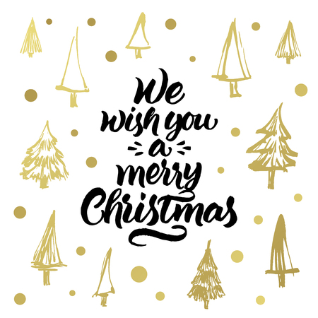 christmass tree: We wish you a merry Christmas. Hand painted greeting card with golden xmas trees pattern isolated on white background.