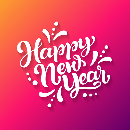 Happy New Year greeting card. White hand lettering on yellow, pink and purple background.