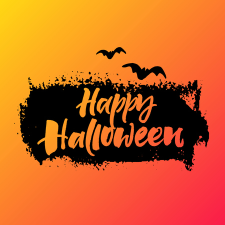 ink stain: Happy Halloween greeting card. Handwritten lettering on black ink grunge stain and orange background.