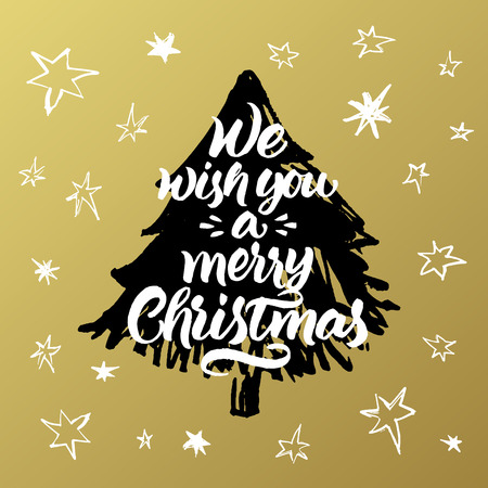 We wish you a merry Christmas. Hand painted greeting card with xmas tree and stars on golden background. Illustration
