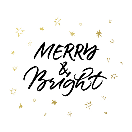 Merry & Bright Christmas brush calligraphy isolated on white background