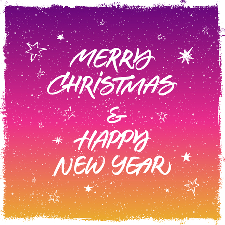 splattered: Merry Christmas & Happy New Year greeting card. Handwritten brush lettering. Colorful purple and yellow splattered snow background with stars.