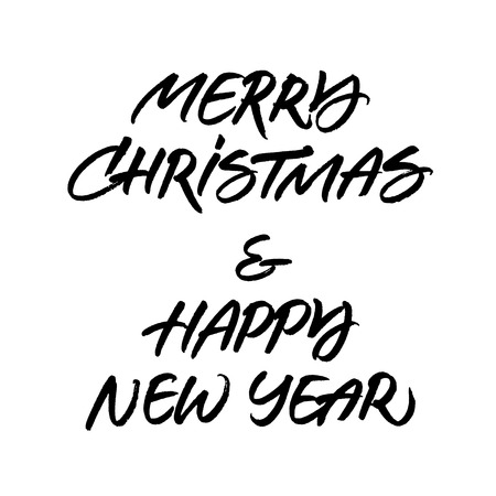 Merry Christmas and Happy New Year brush calligraphy isolated on white background