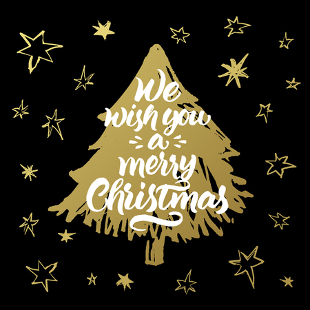 gift season: We wish you a merry Christmas. Hand painted greeting card with golden xmas tree and stars pattern on black background.