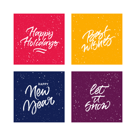 let: Set of handwritten greeting cards: Happy Holidays, Best wishes, Happy New Year, Let it snow Illustration