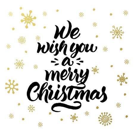 winter wish: We wish you a merry Christmas. Greeting card with handwritten lettering and snowflakes pattern.