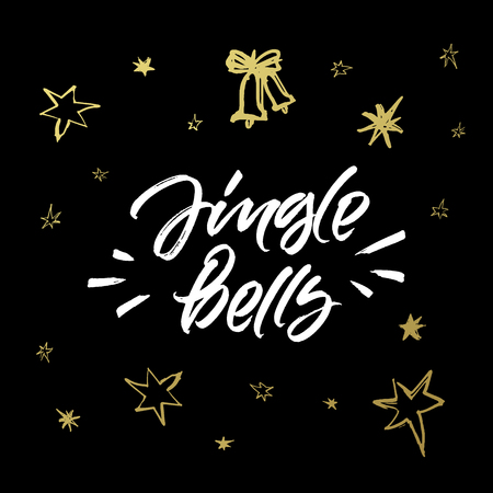 Jingle bells Christmas greeting card. Handwritten brush calligraphy with hand drawn golden stars on black background.