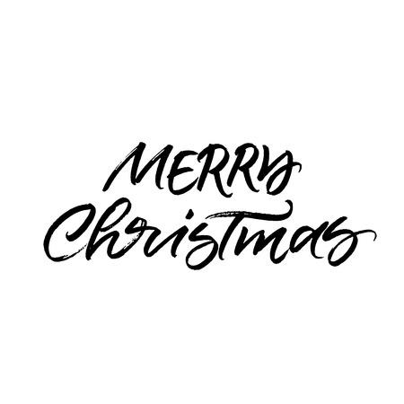Merry Christmas brush calligraphy isolated on white background 向量圖像