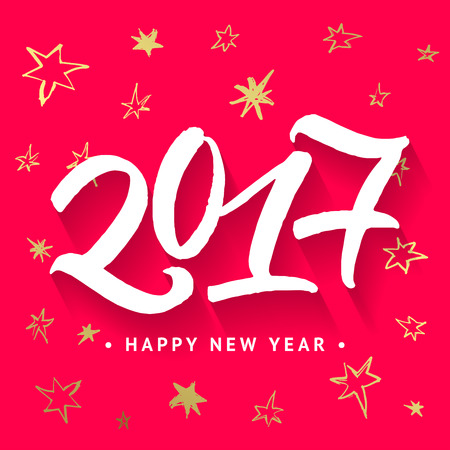 2017 Happy New Year greeting card. Handwritten brush calligraphic numbers and golden hand painted stars pattern on red background.
