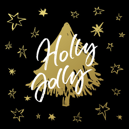Holly Jolly Christmas greeting card. Handwritten calligraphy with hand drawn golden xmas tree and stars on black background.