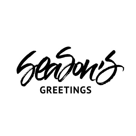 Season's Greetings inscription isolated on white background Illustration