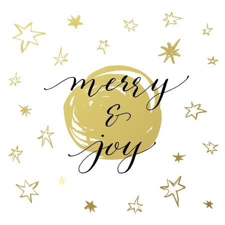 Merry & Joy Christmas greeting card with handwritten calligraphy 向量圖像