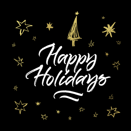 Happy Holidays greeting card. Handwritten brush calligraphy on black background with golden stars and Cristmas tree.