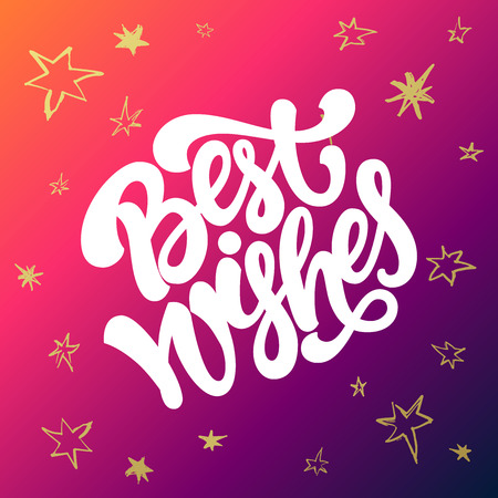 best wishes: Best wishes Christmas and New Year greeting card. Hand lettering on colorful background with golden stars.