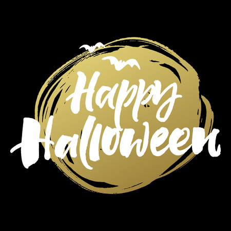Happy Halloween greeting card. Handwritten brush lettering on golden abstract spot and black background.