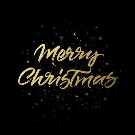Merry Christmas greeting card. Handwritten brush calligraphy on golden stars and black background.
