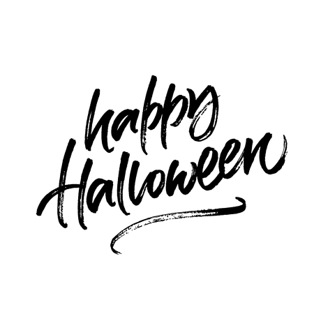 Happy Halloween handwritten ink brush calligraphy isolated on white background for greeting card, banner or poster