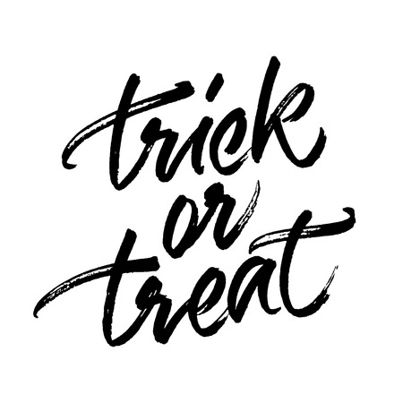 Trick or treat handwritten ink brush calligraphy isolated on white background. Halloween lettering fot greeting card, banner or poster.