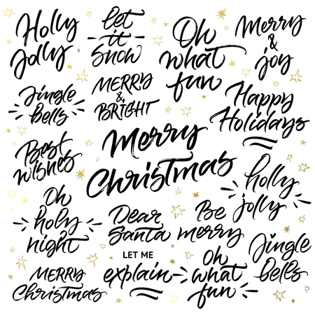 jingle bells: Set of Christmas brush calligraphy: Merry Christmas, Happy holidays, Let it snow, Holly Jolly, Oh what fun, Merry and Joy, Jingle Bells, Merry and Bright, Oh Holy Night, Best Wishes, Dear Santa let me explain, Be merry.