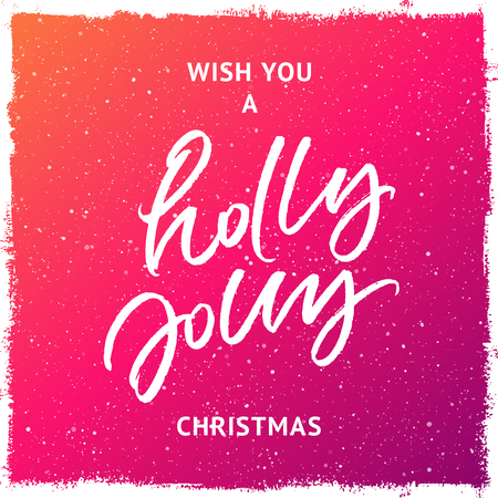 Wish you a holly jolly Christmas greeting card. Handwritten brush lettering. Colorful purple and yellow splattered snow background 向量圖像