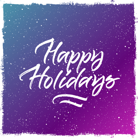 Happy Holidays Christmas and New Year greeting card. Handwritten brush lettering. Colorful purple and blue splattered snow background 向量圖像