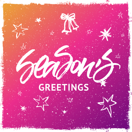 splattered: Seasons Greetings Christmas and New Year greeting card. Handwritten brush lettering. Colorful purple and yellow splattered snow background with stars