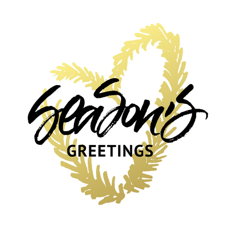 Seasons Greetings Christmas and New Year greeting card. Handwritten brush calligraphy with golden heart wreath.