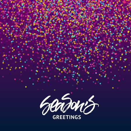 seasons of the year: Seasons Greetings Christmas and New Year greeting card. Handwritten brush lettering on colorful confetti background