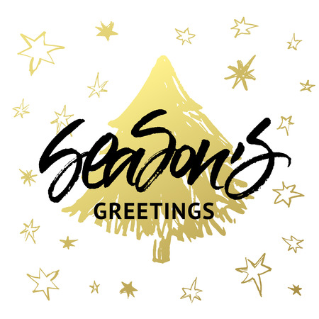 seasons of the year: Seasons Greetings Christmas and New Year greeting card. Handwritten brush calligraphy with golden hand painted xmas tree and stars. Illustration