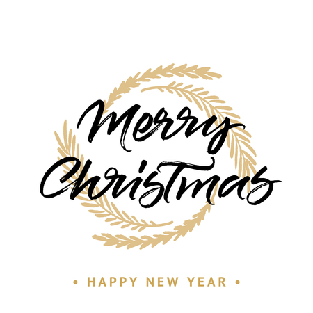 Merry Christmas and Happy New year greeting card. Handwritten brush calligraphy with golden wreath isolated on white background.