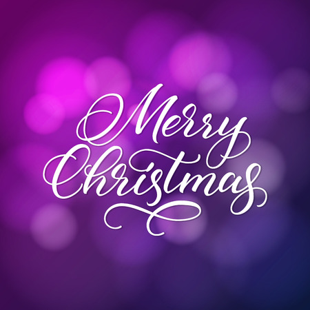 Merry Christmas greeting card. White vector calligraphic inscription on blurred purple and blue background.