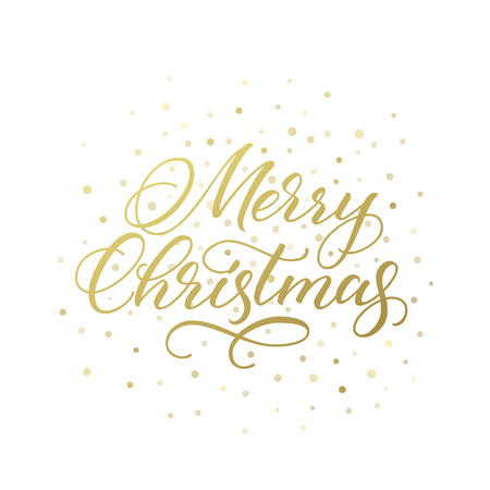 Merry Christmas greeting card. Golden vector calligraphic inscription isolated on white background. 向量圖像