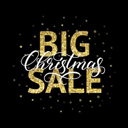 Big Christmas Sale banner design. Calligraphic inscription and golden typography on black background.