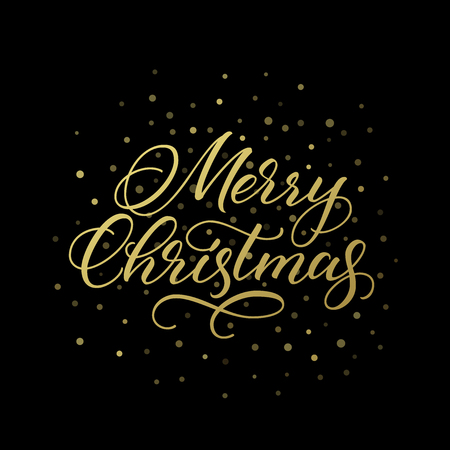 Merry Christmas greeting card. Golden vector calligraphic inscription on black background.