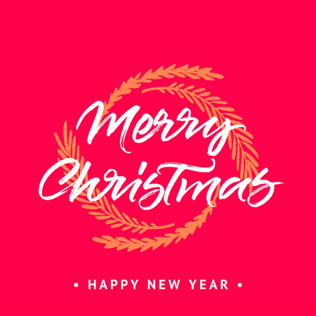 Merry Christmas and Happy New year greeting card. Handwritten brush calligraphy with wreath on red background.