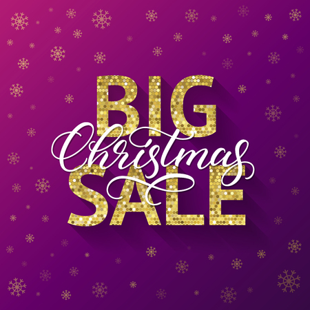 Big Christmas Sale banner design. Calligraphic inscription, golden typography, snowflakes, purple and violet background.