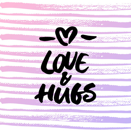 Love & hugs greeting card for Valentines Day. Handwritten brush lettering on striped background.