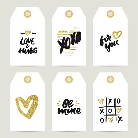 大まかな筆文字とバレンタインの日、結婚式や誕生日に黄金の心ギフト タグのセット プレゼントの装飾: 愛とあなたのための抱擁、Xo Xo ビーマイン
