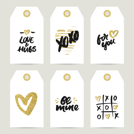 Set of gift tags with rough brush lettering and golden hearts for Valentine's Day, wedding and birthday presents decoration: Love and hugs, Xo Xo, For you, Be mine