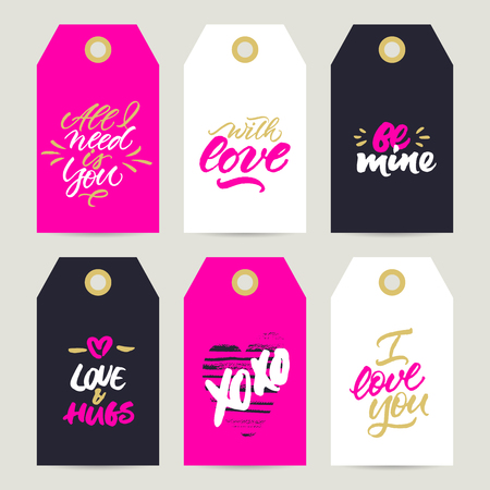 Set of gift tags with rough brush calligraphy for Valentines Day, wedding and birthday presents decoration: All I need is you, With Love, Be mine, Love and hugs, Xo Xo, I love you 向量圖像
