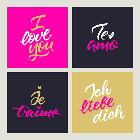 Set of cards with love confession in English, Spanish, French and German: I love you, Te amo, Je taime, Ich liebe dich