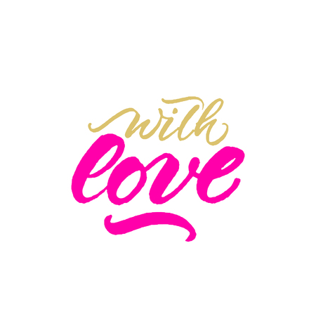 With Love handwritten rough inscription for Valentines Day, birthday and wedding gift tag Illustration
